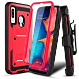 Numy Samsung Galaxy A20/A50/A30 Case,[Buit-in Screen Protector][Shockproof] Hybrid Heavy Duty Case with Swivel Belt Clip-Red