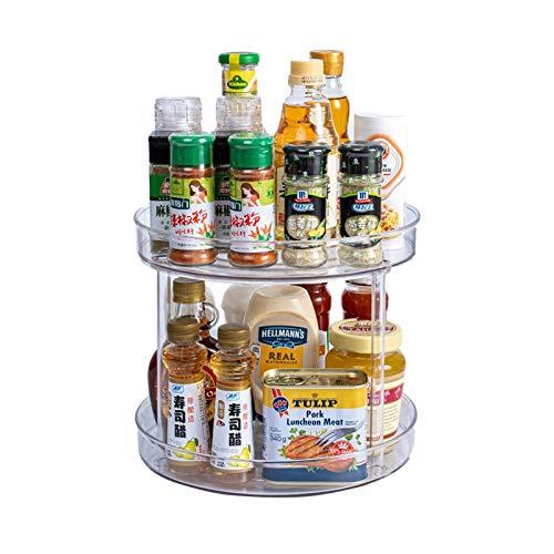 CHENSTAR Estante giratorio para especias, cubo de almacenamiento, práctica caja de almacenamiento de plástico de edulcorantes de té y más soporte para especias para el armario de la cocina