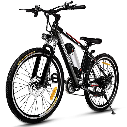 """ANCHEER 500W/250W Electric Bike Adult Electric Mountain Bike, 26"""" Electric Bicycle 20Mph with Removable 12.5Ah/8AH Lithium-Ion Battery, Professional 21 Speed Gears"""
