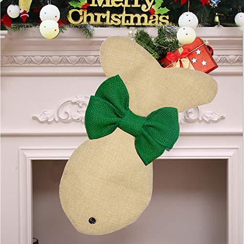 Yodofol Pet Dog Christmas Stockings LargeFish Shaped Bow Burlap Hanging Christmas Stockings for Dogs Christmas Decorations Green 1 Pack