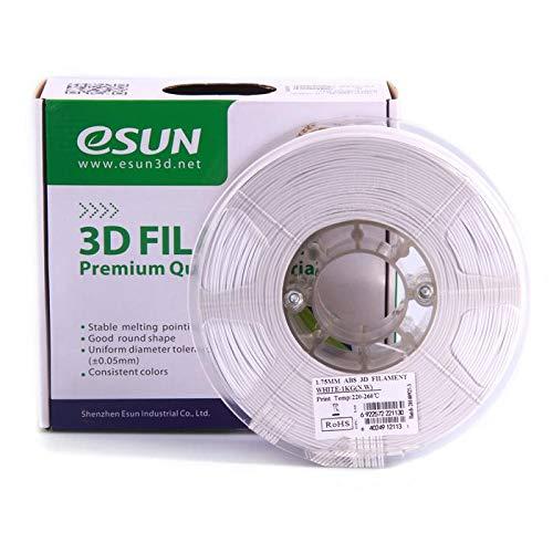 eSUN 3D Filament ABS, 1Kg, 1,75/3,00 mm - 11 färbig, 220-260℃, universal für 3D Drucker (1.75mm, weiß)