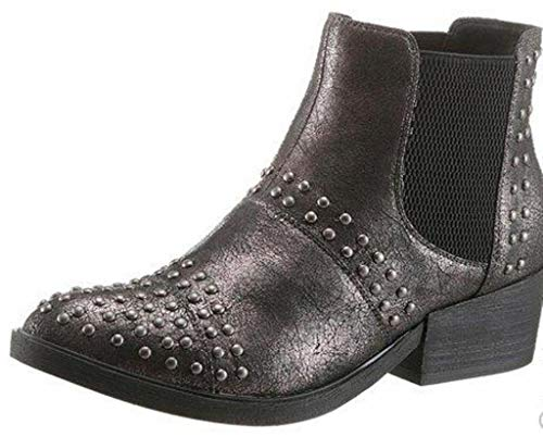 s.Oliver Stiefeletten Chelsea Boots Taupe schwarz Metall Glanz 39