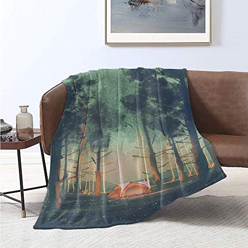 Jecycleus Happy Camper, Weave Pattern Extra Long Blanket, Magical Night Forest Tent Tall Trees Stars and Fireflies, Digital Printing Blanket 90x70 Inch Reseda Green Black Orange