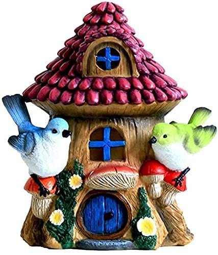 Figurilla Adornos Zen Jardín Escultura Decorativa Cabaña de pájaro Escultura Cabaña Luz Solar Linda Patio Creativo Jardín Paisaje Estatua Adornos