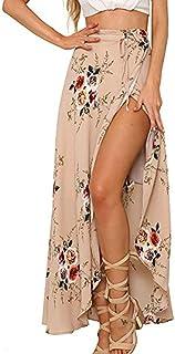 Womens Boho Floral Maxi Skirt Tie Up Waist Casual Slit Wrap Beach Cover Up