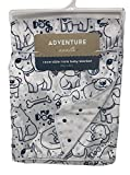 Adventure Awaits You Me and The Dogs Drawing Puppy Pet Bones Reversible Mink Baby Blanket | 30 X 40 inches