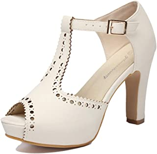 Women's Vintage Suede Ankle T Straps Dress Block Heeled Sandals Shoes