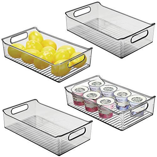 mDesign Juego de 4 fiambreras para el frigorífico – Cajas de plástico para guardar alimentos – Organizador de nevera para lácteos, frutas y otros alimentos – gris humo