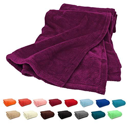 FashionundJoy Premium Flanell Kuscheldecke Super Soft 200 x 150 cm XL in Beere - leicht zu pflegen - fusselfrei - geprüfte Qualität - Ökotex zertifziert - Wohndecke violett Typ380