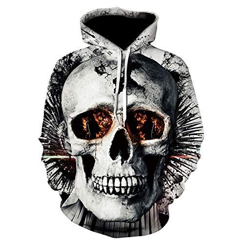 Mannen vrouwen Hoodies 3D Pale schedel print unisex paar lange mouwen pullover outdoor vrije tijd sweatshirts uniform jumper mantel met zakken S-6XL XXXXL A