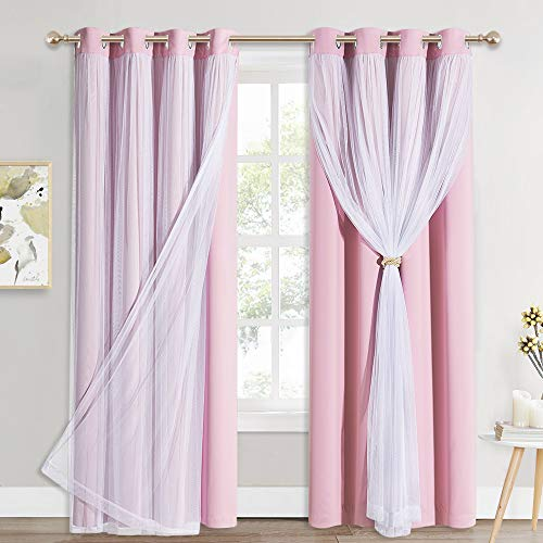 PONY DANCE Pink Bedroom Curtains - Double-Layered Curtains for Nursery Girls with Tie-Backs Sheer Drapes 84 inches Long, Light Block for Windows (52 Inch Wide, 2 PCs)