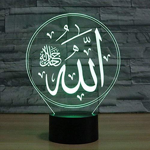 7 Farben ändern islamische Muhammad Nachtlicht 3D LED visuelle Tisch Schreibtischlampe USB Kinder Nachtbett Schlaf Beleuchtung Dekor Geschenke
