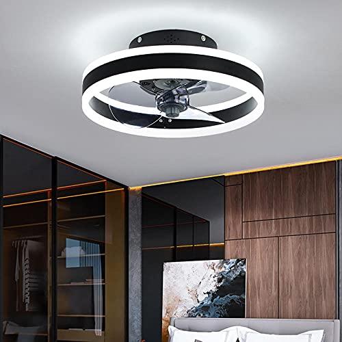 LED Deckenventilator,Deckenventilator Mit Beleuchtung,Fernbedienung,Leise,48W Moderne Invisible Fan Deckenleuchte,LED Dimmbar Deckenlampe,für Wohnzimmer, Schlafzimmer,Ø40CM,6 Geschwindigkeit