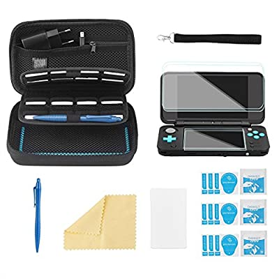 Bestico Starter Kits for New Nintendo 2DS XL, Include Carrying Case with 16 Games Slots for Nintendo DS (New 3DS XL/3DS/3DS XL/New 3DS) +4pcs HD Protective Film + Touchscreen Pen + Carry Strap