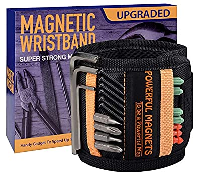 Tools For Men Magnetic Wristband, 15 Upgrade Super Strong Magnets, Best Dad Gift, Unique Gifts For Men, Magnetic Gadget for Man Gifts, Wrist Tool Holder for Holding Screws, Nails, Drill Bits. by CRANACH