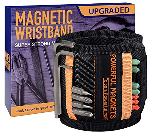 Magnetic wristband for holding screws, nails and drill bits