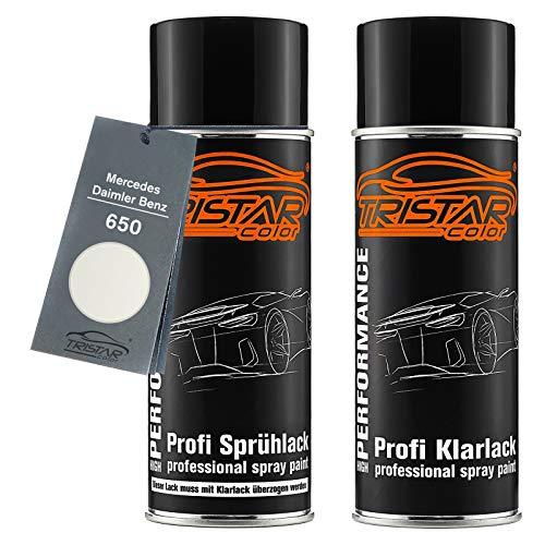 TRISTARcolor Autolack Spraydosen Set für Mercedes/Daimler Benz 650 Calcitweiss Basislack Klarlack Sprühdose 400ml