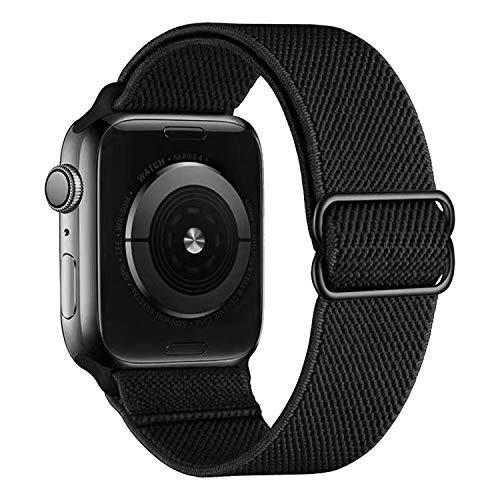 MroTech kompatibel mit Apple Watch Armband 44mm 42mm Uhrenarmband Elastic Woven Loop Ersatzarmband Sport Band Ersatz für iWatch SE Serie 6/5/4/3/2/1 Nylonarmband Nylon Stoff Schlaufe 42/44 mm Schwarz