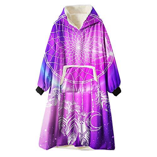 Zuichu Oversized Wearable capuchontrui violet super pluche winter warm badjas omkeerbaar unisex [eenheidsmaat], geschikt voor huis/kantoor/winkelen/kamperen