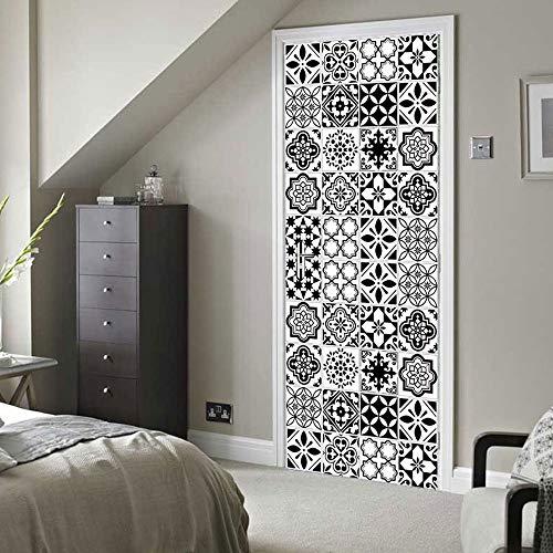LJIEI Sticker Porte Stickers De Porte De Tuile Créatifs Distincts Noir Et Blanc Porte en Bois Décoration De La Maison 3D Stickers Muraux Stéréo (90X200)