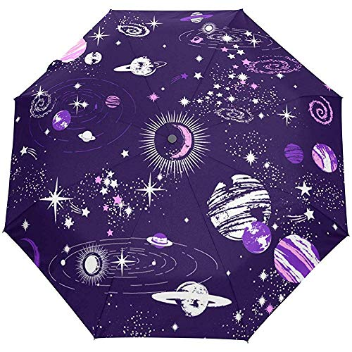 Galaxy Star Planet Sonne Mond Universum Weltraum Auto Open Umbrella Sun Regen Regenschirm Anti UV Folding Compact Automatic Umbrella