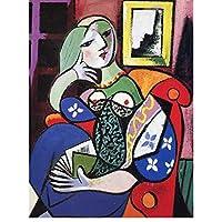 壁にピカソのキャンバスの絵画による本を持つ女性アートポスターとプリントリビングルームのシュルレアリスムアートキャンバスの写真-60x80cmx1フレームなし