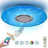 24W Lámpara de Techo LED Regulable con Mando Plafonnier con Altavoz Bluetooth Plafón, cielo estrellado Proyector Rotatorio Color Star para Cuarto de Niños de Bebé Dormitorio de Niños Regalo de Niños