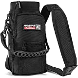 Wild Wolf Outfitters Water Bottle Holder for 40oz Bottles Black - Carry, Protect and Insulate Your Best Flask with This Military Grade Carrier w/ 2 Pockets & an Adjustable Padded Shoulder Strap