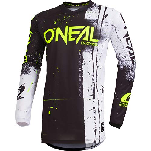O'NEAL | Motocross-Jersey Langarm | Kinder | MX MTB Mountainbike Enduro | Eingenähter Ellbogenschutz, V-Ausschnitt, Atmungsaktives Material | Element Youth Jersey Shred | Schwarz | Größe S