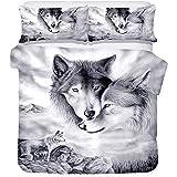 YCX Bettwäsche-Set Wolf Musterdesign Mit Reißverschluss, Bettbezug 172Cm×218Cm Super Weiche Polyester Modernes Bettwäsche Set,Schwarz