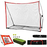 WhiteFang Golf Net Bundle Golf Practice Net 10x7 feet with Golf Chipping Nets Golf Hitting Mat &Golf Balls Packed in Carry Bag for Backyard Driving Indoor Outdoor (Golf Net 4-in-1)