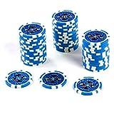 50 Poker-Chips Laser-Chips Metallkern 12g Poker Texas Hold`em Black Jack Roulette reflektierend Tokens Jetons Casino 1 Rolle Wert 1-10000 wählbar (Wert 50)