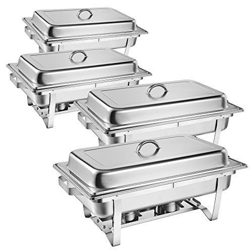 Zelsius Chafing Dish Profi Set Grenoble, 4X Edelstahl Warmhaltebehälter, 30-TLG Speisewärmer, Wärmebehälter, Rechaud, Chafing Dishes, Speisenwärmer, für Catering, Buffet und Party