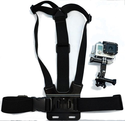 Navitech Adjustable Elastic Body Chest Strap Mount Belt Harness Compatible with The GoXtreme Black Hawk 4K Action Camera