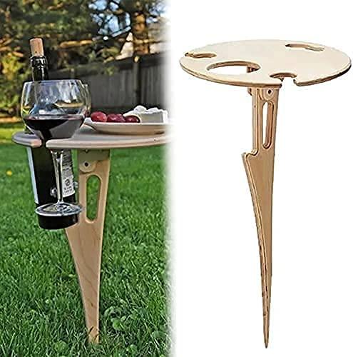MayJuly Klapptisch für den Außenbereich, tragbar, aus Holz, Picknick-Tisch, Mini-Klapptisch, Weintisch für Garten, Outdoor, Camping, Picknick, Strand (Hölzern)
