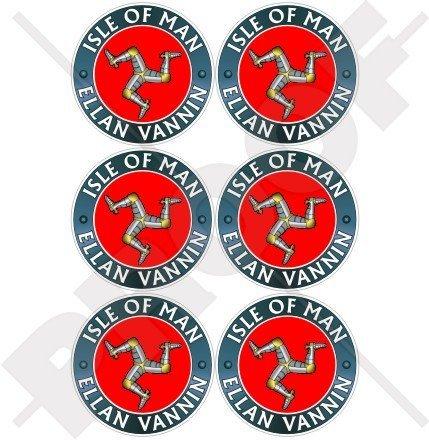 Île de Man ELLAN vannin TT Racing, argent Triskell, Mannois 40 mm (40,6 cm) Mobile, Téléphone portable, mini en vinyle autocollants, Stickers x6