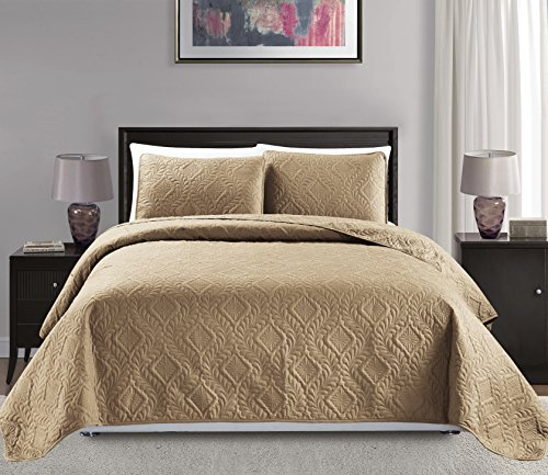 Mk Collection King/California King Over Size 118'x106' 3pc Diamond Bedspread Bed-Cover Embossed Solid Taupe New