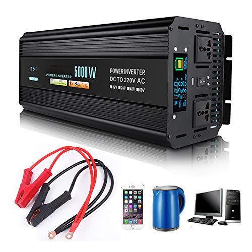 Zdcdy Inverter a Onda Sinusoidale Pura, 12v/ 24v/ 48v/ 60v DC in 220v AC, Trasformatore di Potenza Convertitore con Presa E Display LCD per Auto, Campeggio, Viaggi,24V-5000W