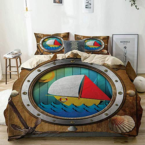 Duvet Cover Set Beige,Porthole with Bolts Seashells Rusty Anchor and Boat Journey Voyage Activity,Decorative 3 Piece Bedding Set with 2 Pillow Shams Easy Care Anti-Allergic Soft Smooth