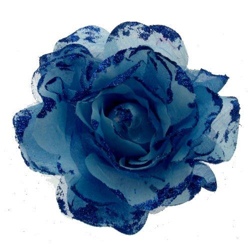 Acosta–tamaño grande azul Organza y purpurina rosa–tela corsé de flores broche/banda elástica/accesorio para el pelo