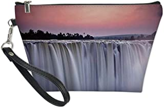 Waterfall Useful Cosmetic Bag,Grand Majestic Waterfalls View at Sunset in Africa Wild Mist Exotic Land Photo for Travel,for Women Makeup Bags Pouch Purse Handbag Organizer
