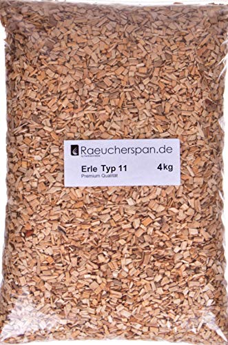 Räucherspäne Erlenholz Typ 11, grobe Späne Spangröße 4-6mm aromatischer Rauch zur Verwendung im Räucherschrank, auf dem Grill, in der Smokerbox und beim Barbecue (4.00.)