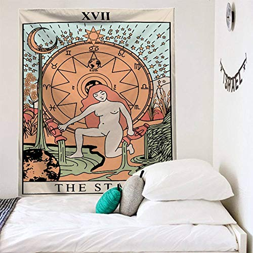 ZXBFJK Tapestry Wall Hanging,Hippie Psychedelic Large Rectangular Print Fabric Tapestries,Astrology Tarot Naked Woman,Indian Art Print Mural,for Bedroom Living Room Dorm Home Decor