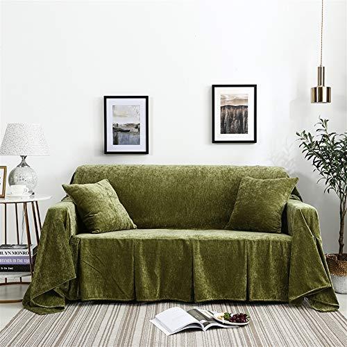 Icegrey bankovertrek, antislip, armleuningen, sofa-sprei, van fluweel, sofahoes 200x260cm groen