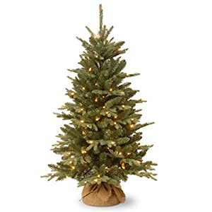 National Tree Company Pre-lit Artificial Mini Christmas Tree | Includes Small Lights and Cloth Bag Base | for Tabletop or Desk | Burlap-4 ft, 4′, Green