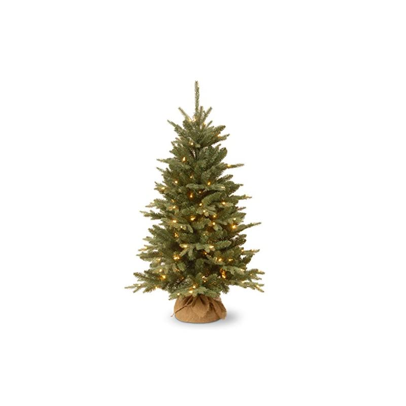 silk flower arrangements national tree company pre-lit artificial mini christmas tree   includes small lights and cloth bag base   for tabletop or desk   burlap-4 ft, 4', green