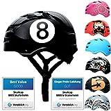 SkullCap® Casco de Skate y BMX - Bicicleta Y Scooter Eléctrico, Diseño: Black-8, Talla: M (55-58 cm)