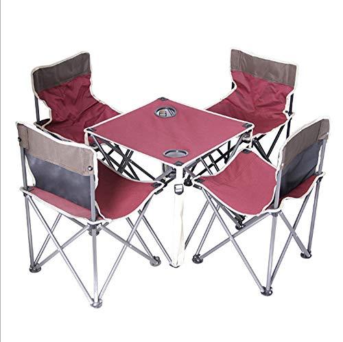 GAO-bo Juego de Mesa y sillas de Camping de 5 Piezas, Mesa de Picnic Plegable portátil para Acampar, Fiesta, jardín al Aire Libre, sillas de Barbacoa, taburetes, Conjunto (Color : Pink)
