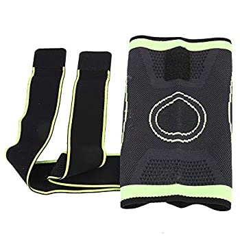 YOPOTIKA Genouillère en tricot - Protection des genoux réglable - Pour sports d'intérieur et d'extérieur - Vert - Taille M