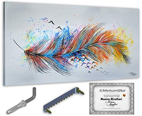 exclusive-gallery I Monica Mirafiori I Gemälde Plume I 140x70cm | XXL Leinwandbild handgemalt | Acrylgemälde auf Leinwand | Sehr großes Acrylbild auf Keilrahmen